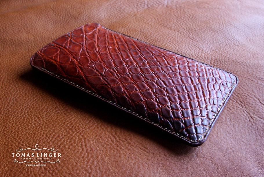 pouzdro pro iphone x z aligátora pravá kůže