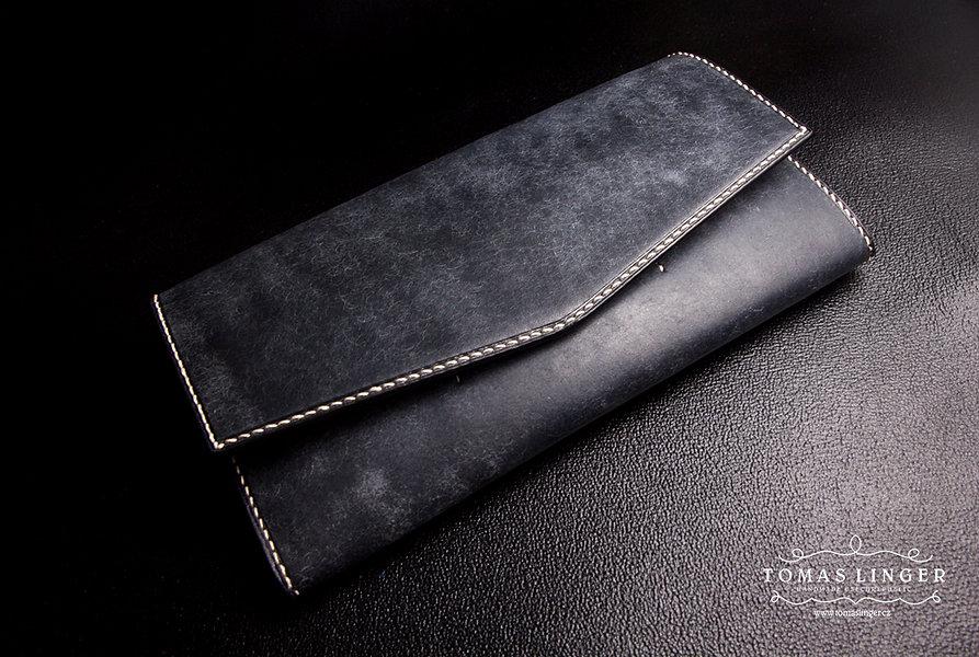 dámská peněženka vyrobená na zakázku ručně modrá kůže