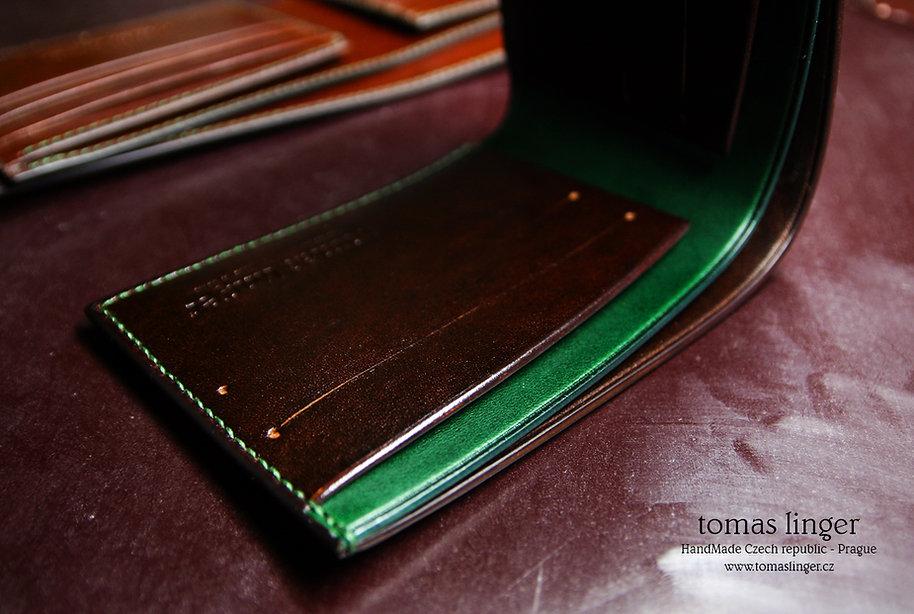 slim tenká peněženka hnědo zelená kůže