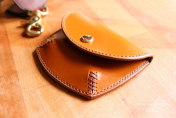 peněženka na drobne karty a mince z kuze rucne usita