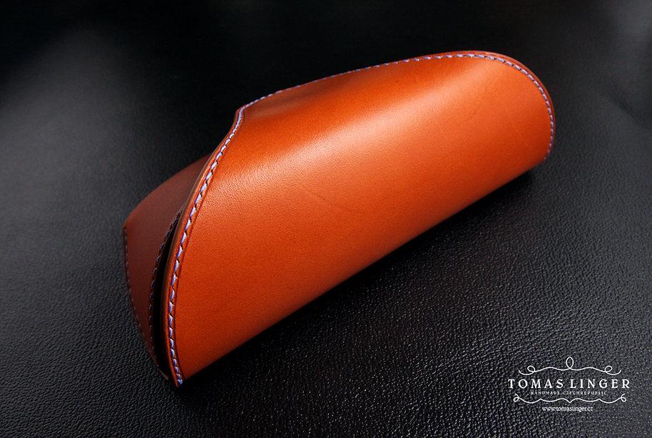 pouzdro na brýle z pravé kůže ručně vyrobené