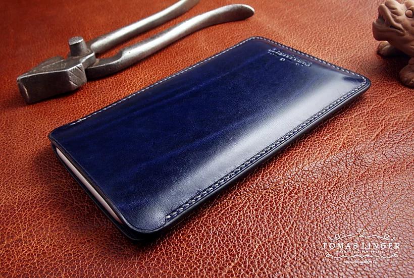 Pouzdro pro Apple iPhone z kůže modrá Japan s kresbou vazů