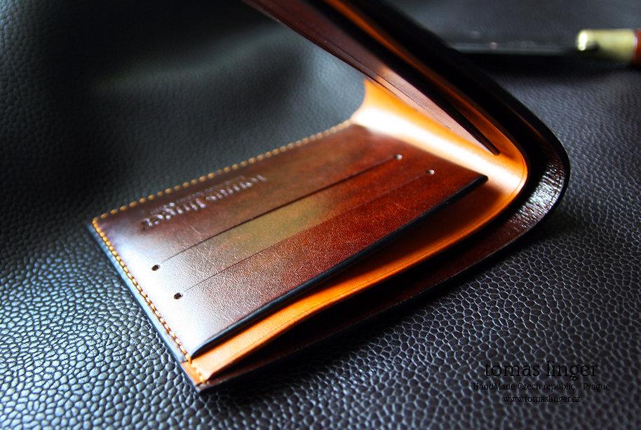 Peněženka z kůže na zakázku slim konak a okrová kůže