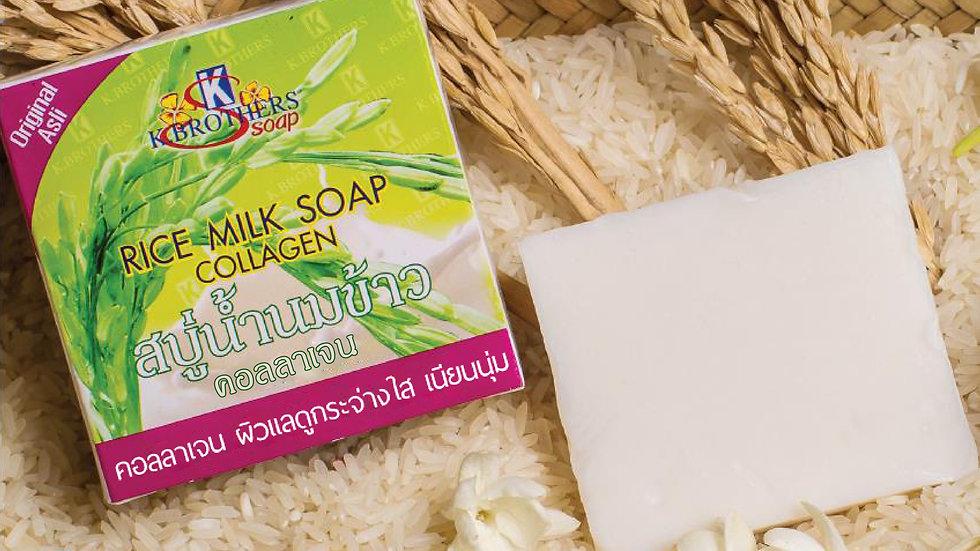 Rice Milk Collagen Soap 1 pack (12 pieces), price 185 baht