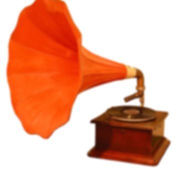 Old gramophone isolated over white backg
