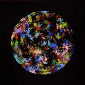 Physical digital heart, 2020 (acrylic on canvas)