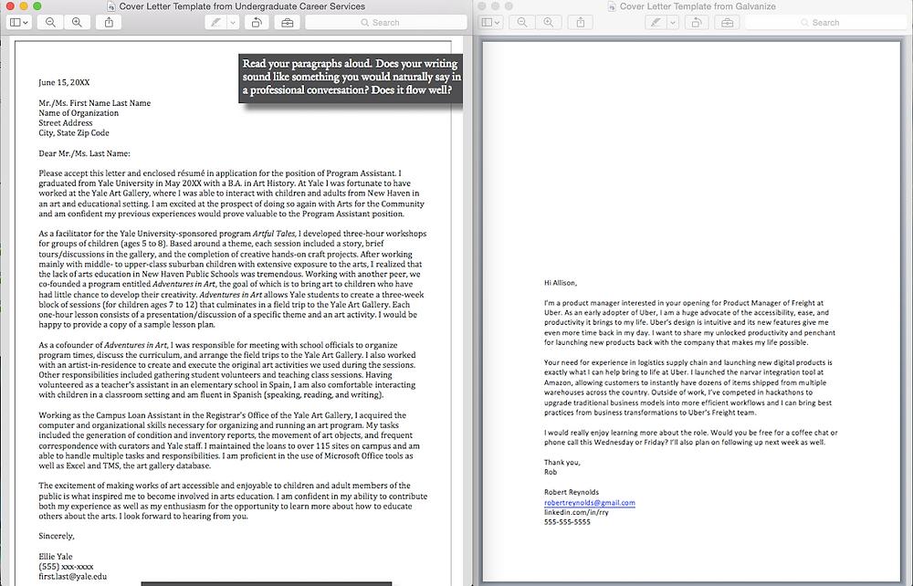 Cover Letter Comparison