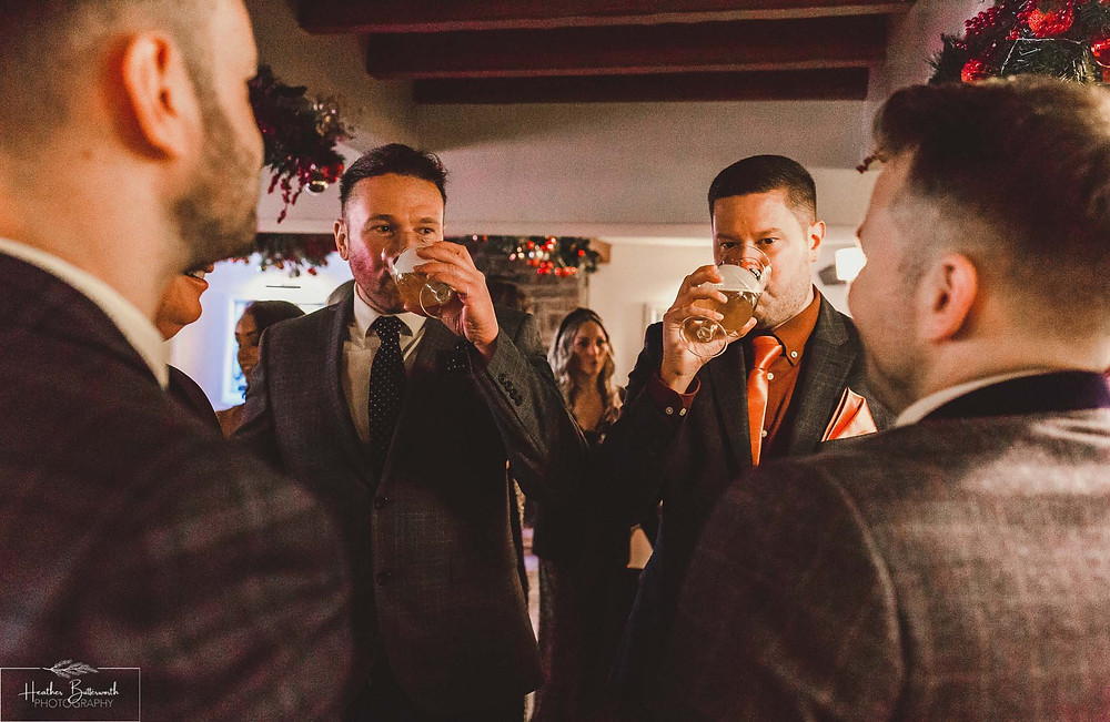 Groom with his best man and groomsmen before his wedding at The Woodman Inn in Thunderbridge, Yorkshire