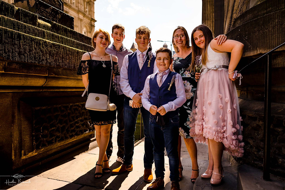 bride and grooms' family before the wedding ceremony in Yorkshire in August 2020