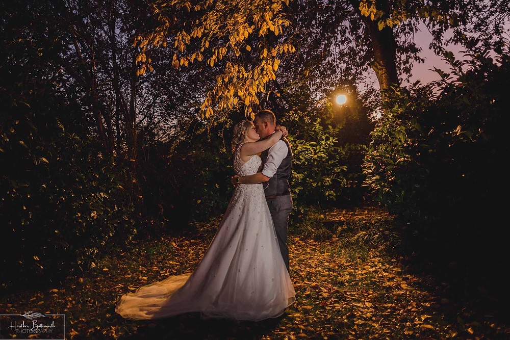 leeds wedding photographer Yorkshire alwoodley community hall flash photography sunset