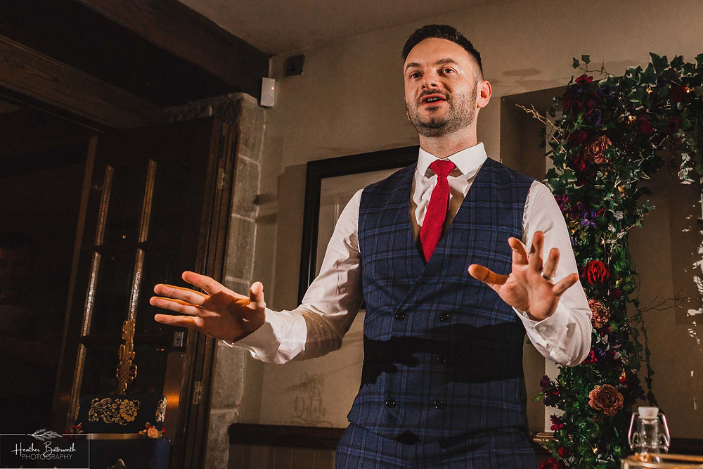 Grooms speech at The Woodman Inn in Thunderbridge, Yorkshire