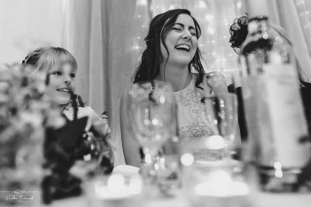 leeds wedding photographer Yorkshire reception alwoodley community hall speeches bridesmaid laughter