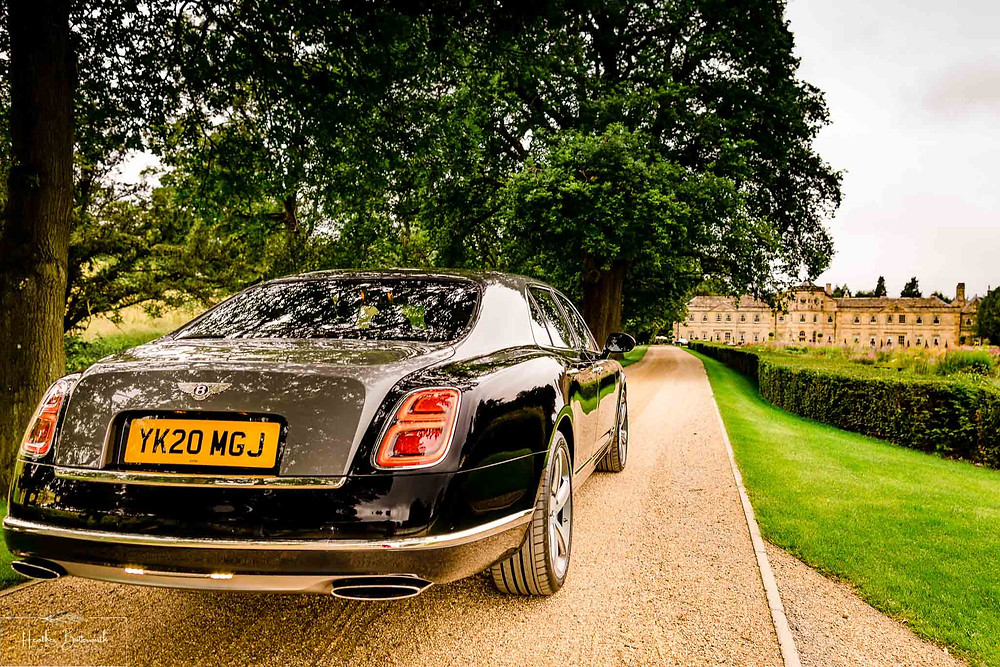 A Bentley Mulsanne on the drive to Grantley Hall, Yorkshire in July 2020