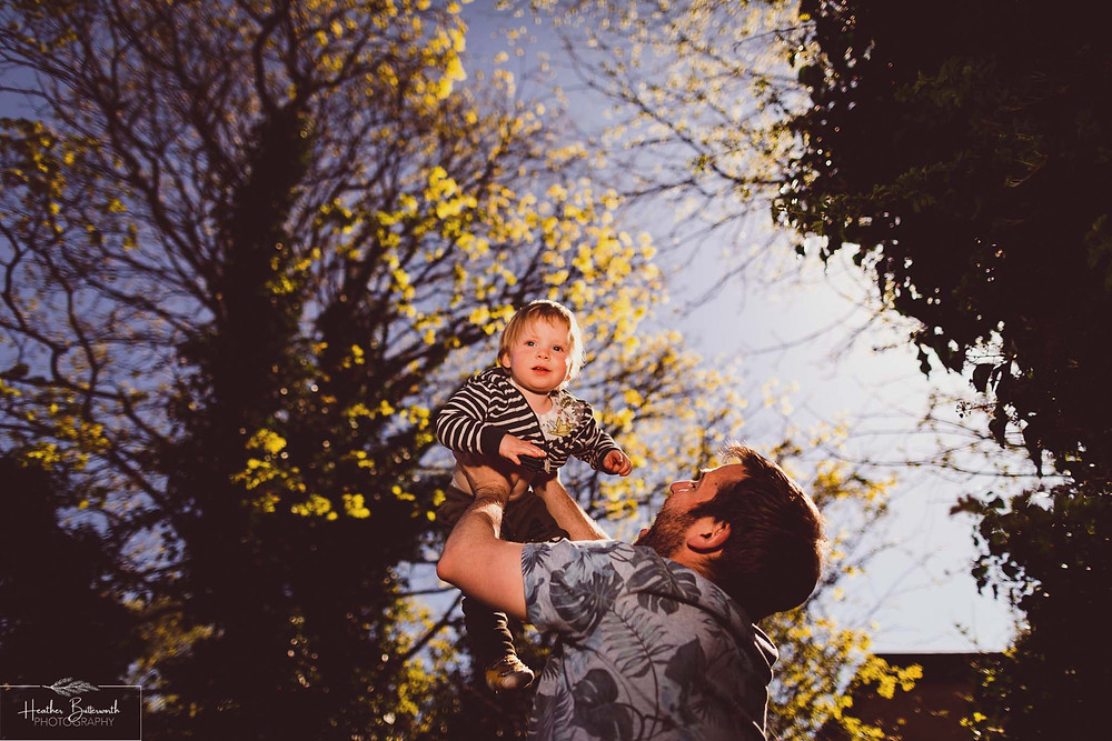 documentary family photography taken during lockdown in 2020 in Leeds Yorkshire by Photographer Heather Butterworth of boy and dad