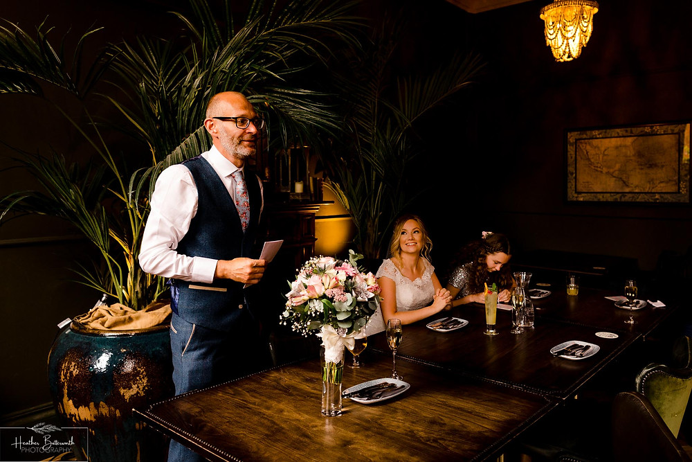 wedding reception at Lost and Found in Leeds West Yorkshire for a socially distanced wedding in august 2020