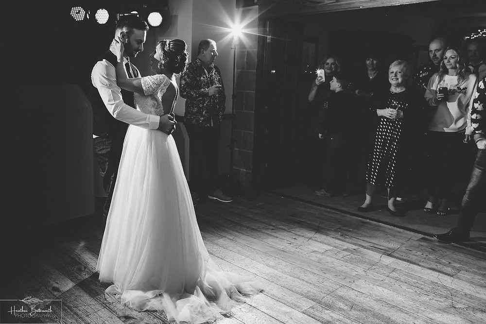 Bride and grooms first dance at The Woodman Inn in Thunderbridge, Yorkshire