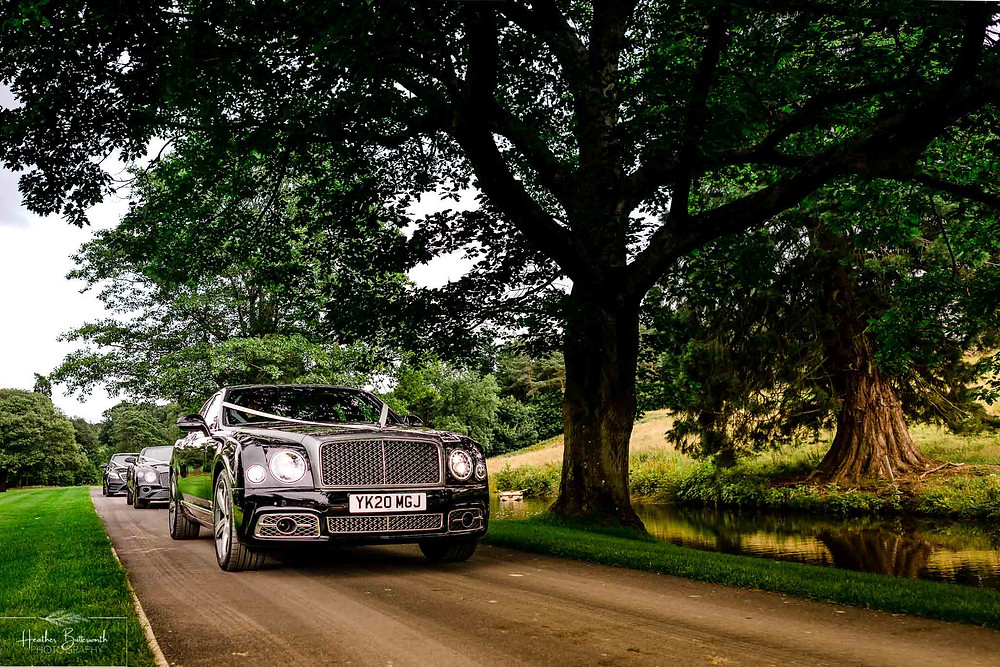 A Bentley Mulsanne, Bentley GT Convertible and Mercedes S-Class on the drive to Grantley Hall, Yorkshire in July 2020