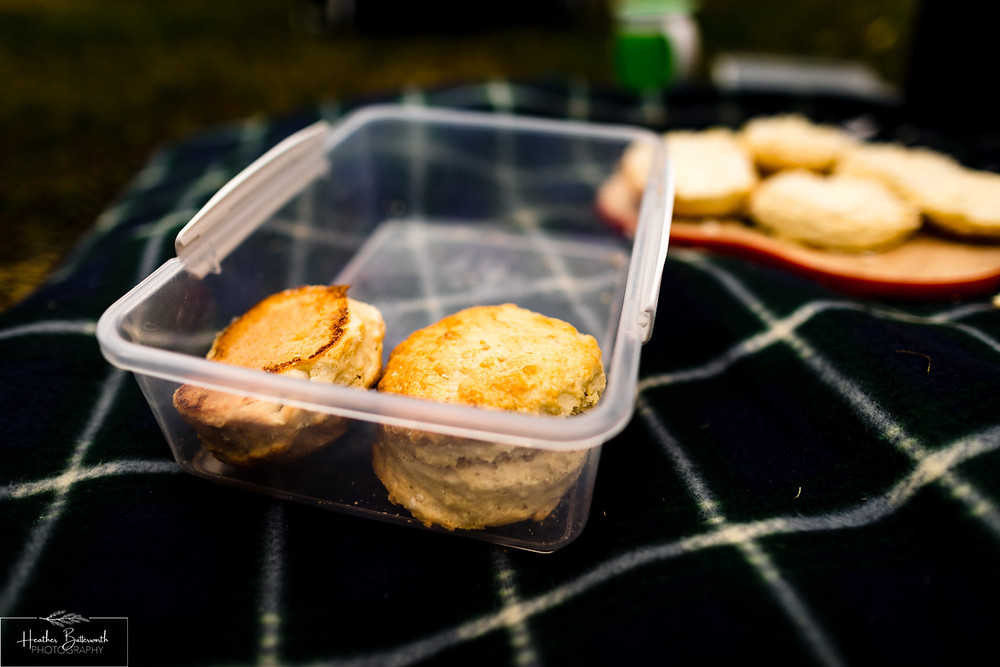scones in a plastic box
