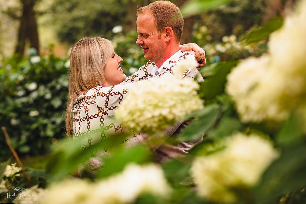 golden acre park Leeds wedding photographer engagement shoot flowers