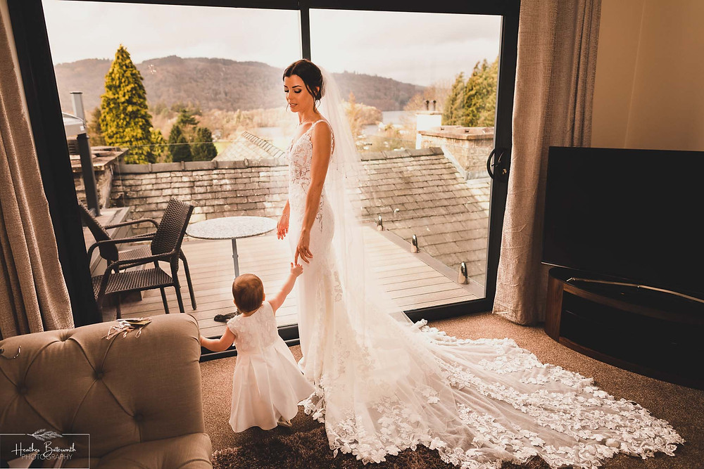 bride with her baby daughter