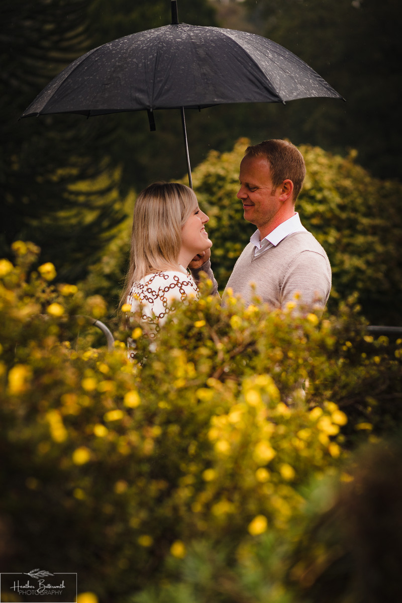 golden acre park Leeds wedding photographer engagement shoot rain