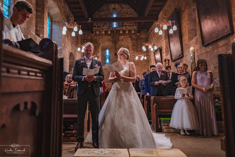 leeds wedding photographer Yorkshire adel parish church st John the baptist service hymns ceremony
