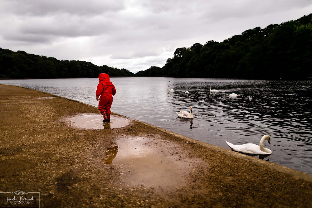 toddler playing in a puddle in roundhay park after restrictions were slightly lifted after the COVID-19 lockdown in Leeds , Yorkshire in June 2020