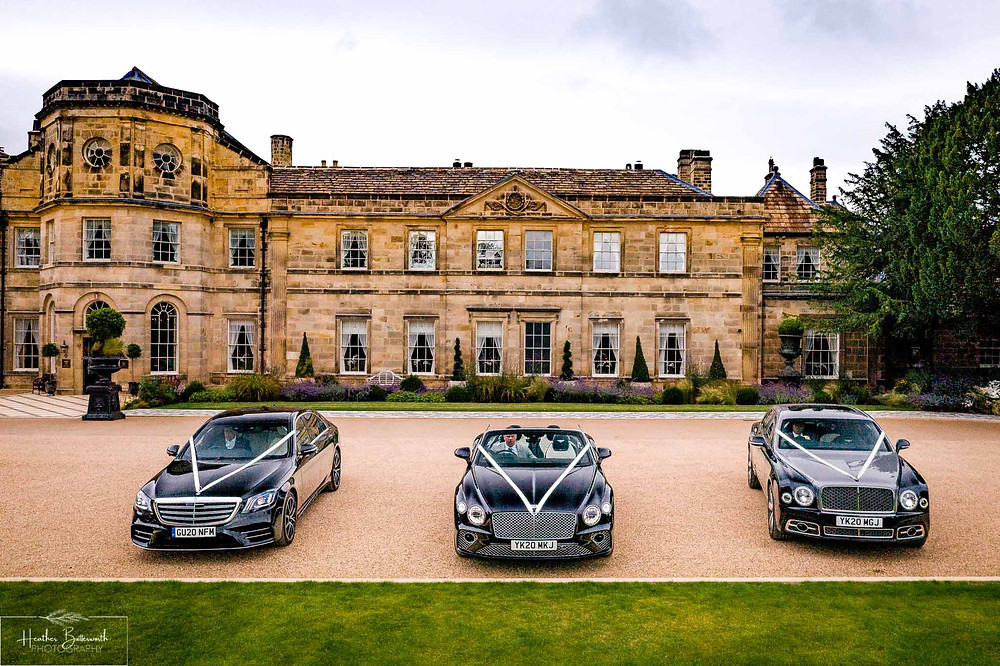 A Bentley Mulsanne, Bentley GT Convertible and Mercedes S-Class outside Grantley Hall, Yorkshire in July 2020