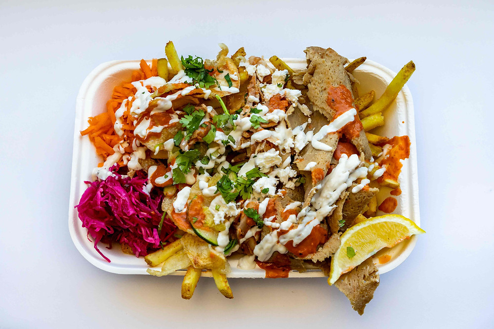 Street Cart Fries. I am Doner in Leeds City Centre Yorkshire. Food Photography