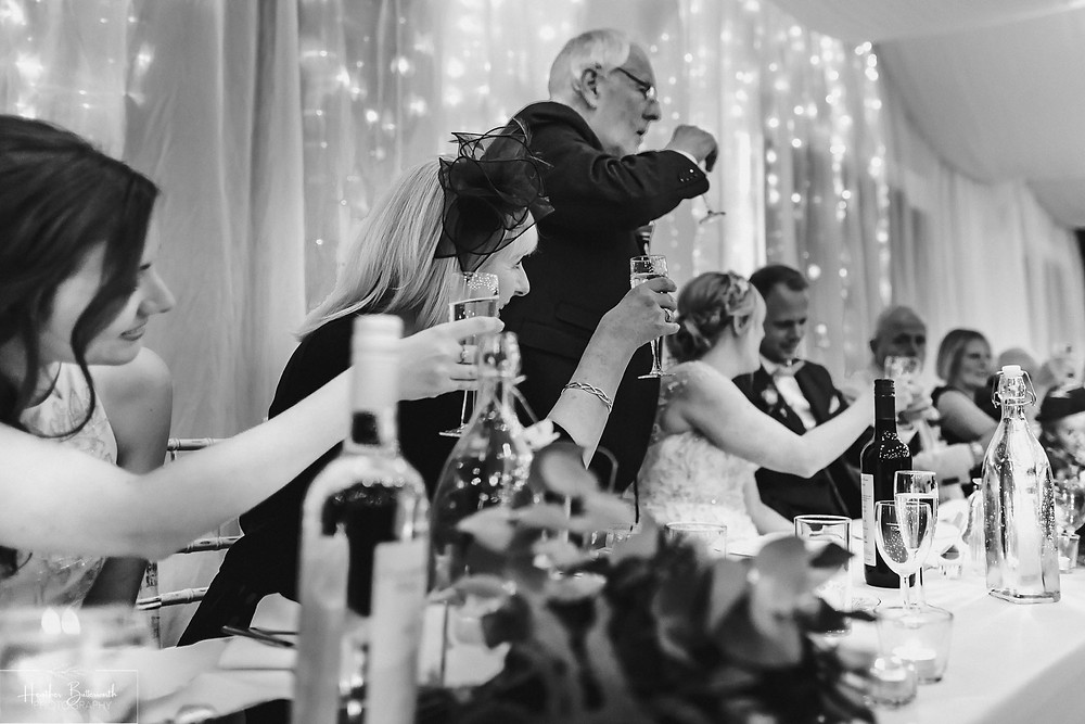 leeds wedding photographer Yorkshire reception alwoodley community hall speech speeches toast