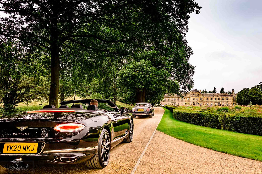 A Bentley Mulsanne and Bentley GT Convertible outside Grantley Hall, Yorkshire in July 2020