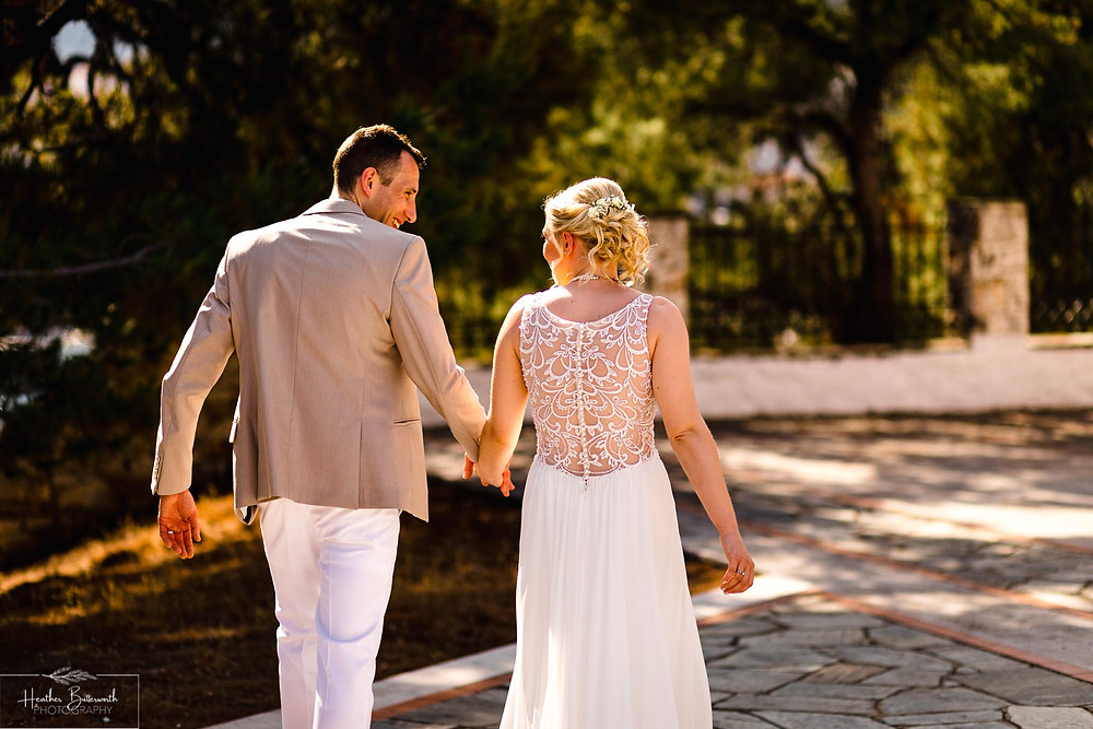 bride and groom after their wedding ceremony  at The Boutzi wedding venue in Skiathos Town ready for a wedding ceremony in June 2019