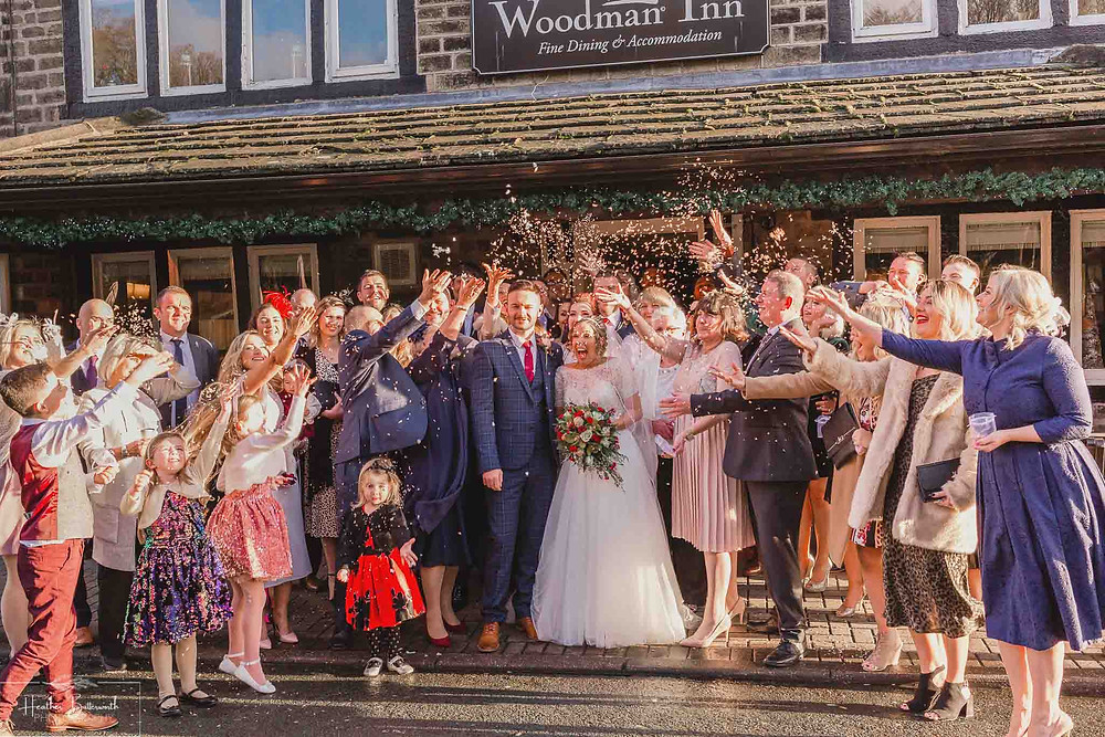 Bride and Groom after their wedding ceremony at The Woodman Inn in Thunderbridge, Yorkshire