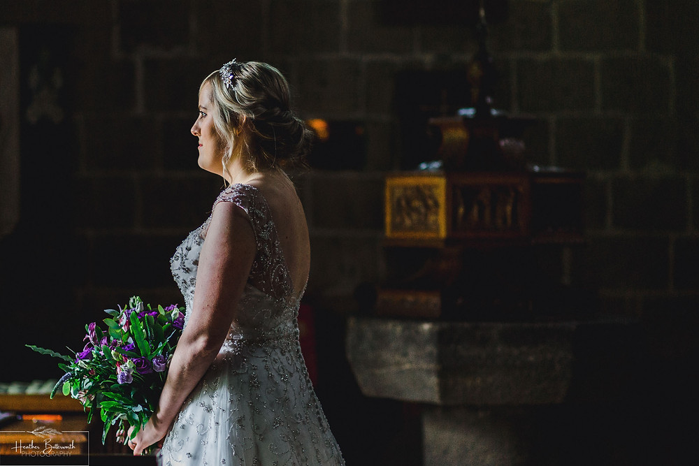 leeds wedding photographer Yorkshire adel parish church st John the baptist colour bridal portrait