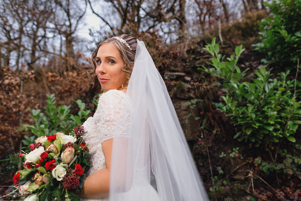 bride near woods and trees at the woodman inn Yorkshire