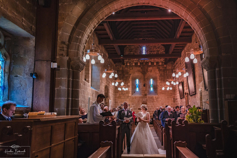 leeds wedding photographer Yorkshire adel parish church st John the baptist interior ceremony service