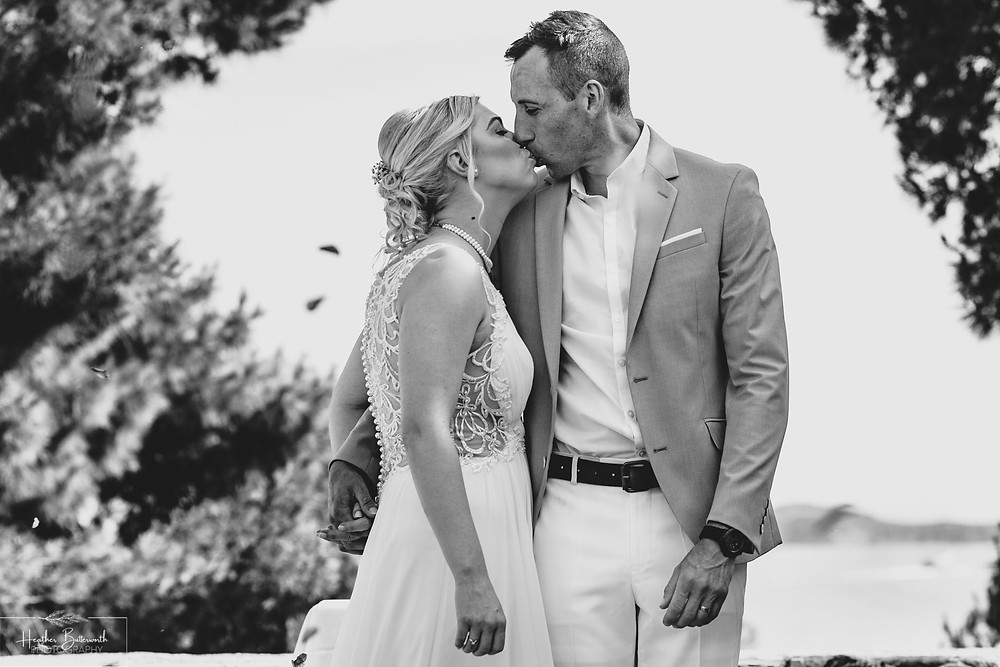 bride and groom after their wedding ceremony at The Boutzi wedding venue in Skiathos Town in June 2019