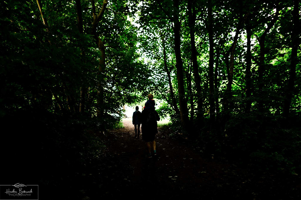 father and son walking in roundhay park woods after restrictions were slightly lifted after the COVID-19 lockdown in Leeds , Yorkshire in June 2020