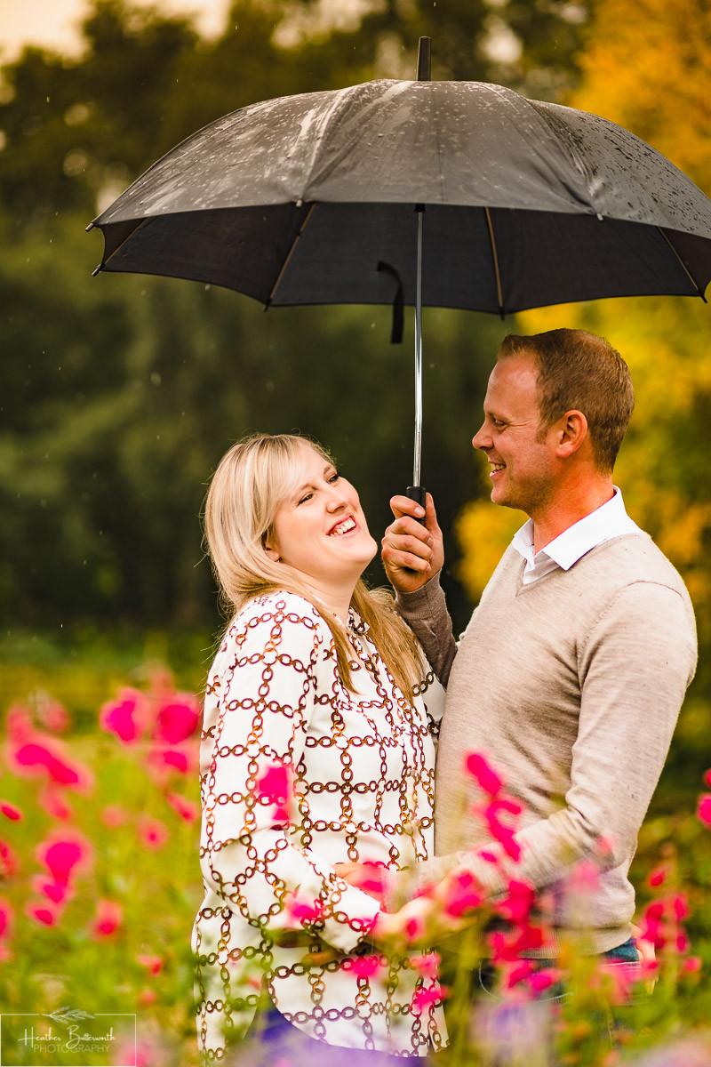 golden acre park Leeds wedding photographer engagement shoot pink flowers
