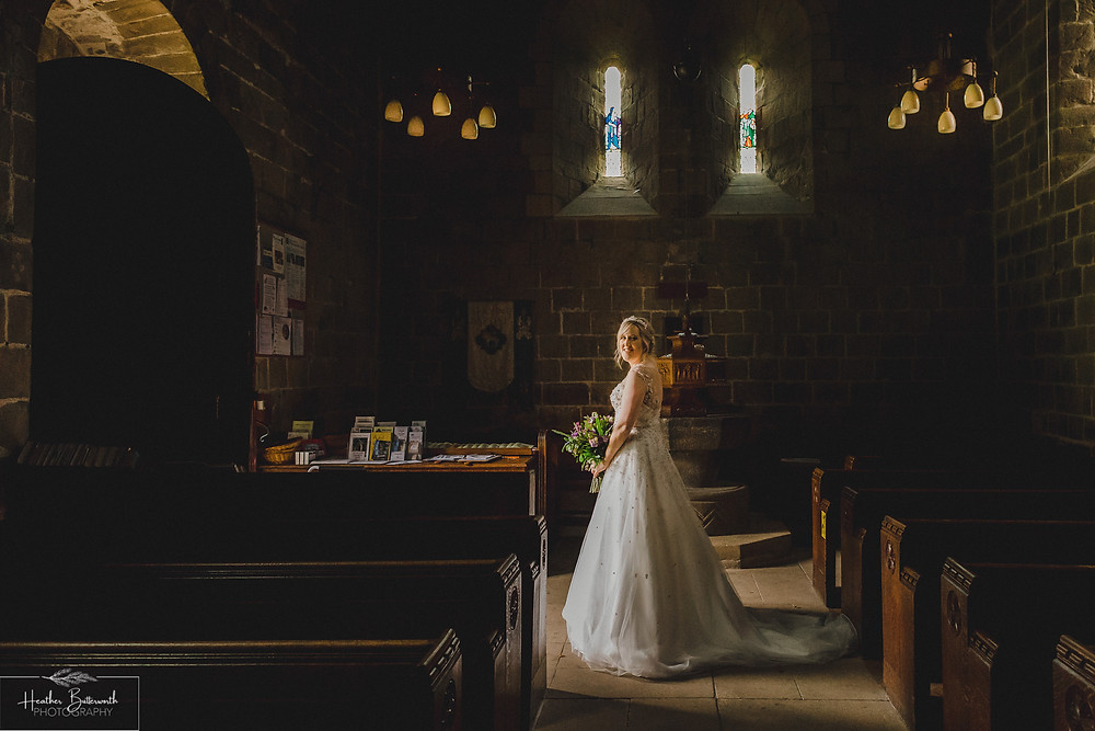 leeds wedding photographer Yorkshire adel parish church st John the baptist bridal portrait natural light