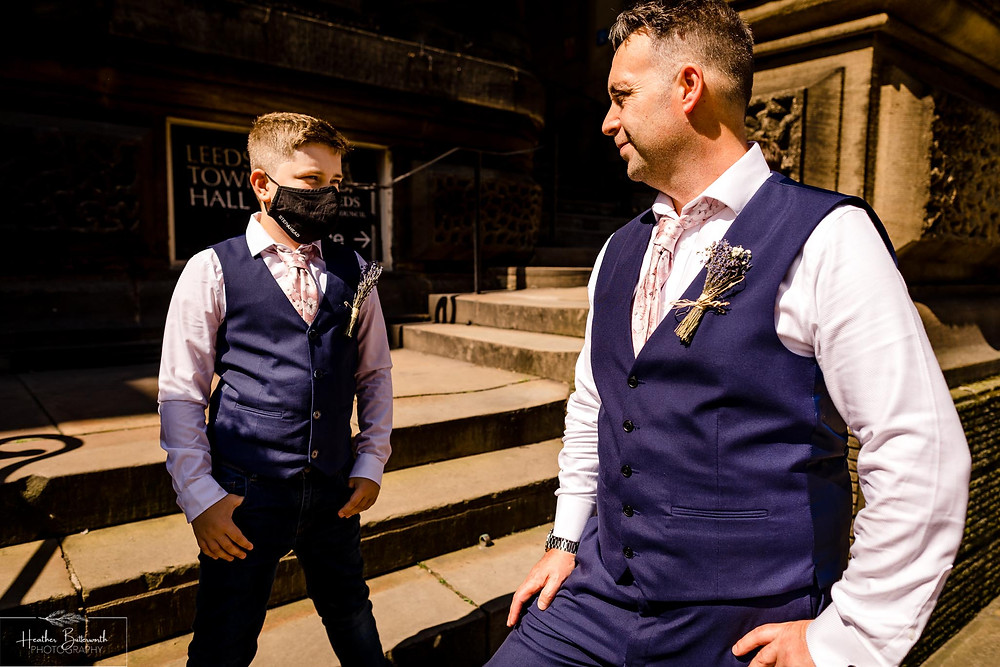groom outside Leeds Town Hall before his wedding ceremony in Yorkshire in August 2020
