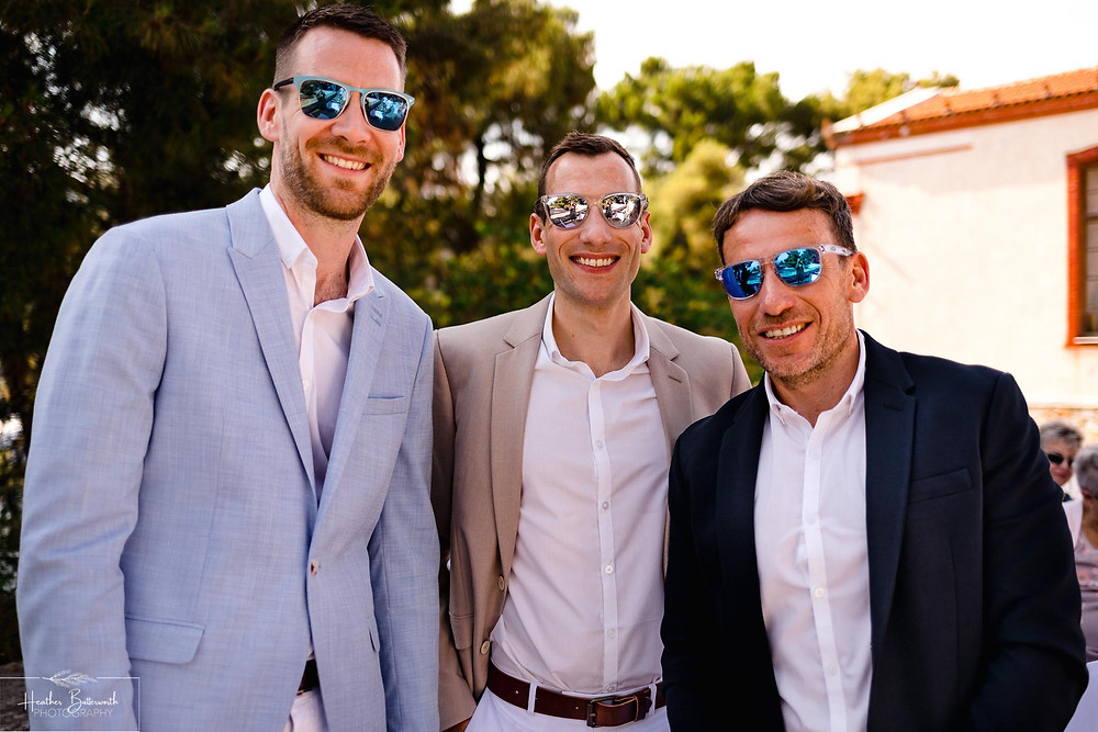 Groom and his best men at The Boutzi wedding venue in Skiathos Town in June 2019