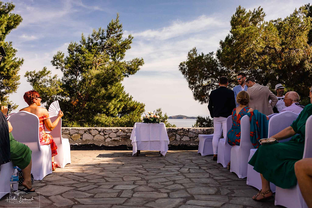 The Boutzi wedding venue in Skiathos Town ready for a wedding ceremony in June 2019