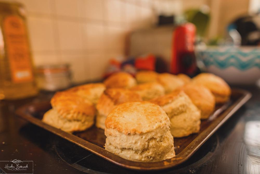 freshly baked Devonshire scones