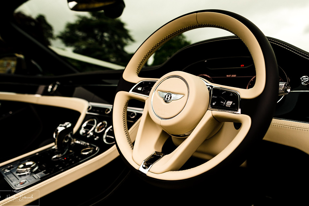Interior of a Bentley Mulsanne outside Grantley Hall, Yorkshire in July 2020