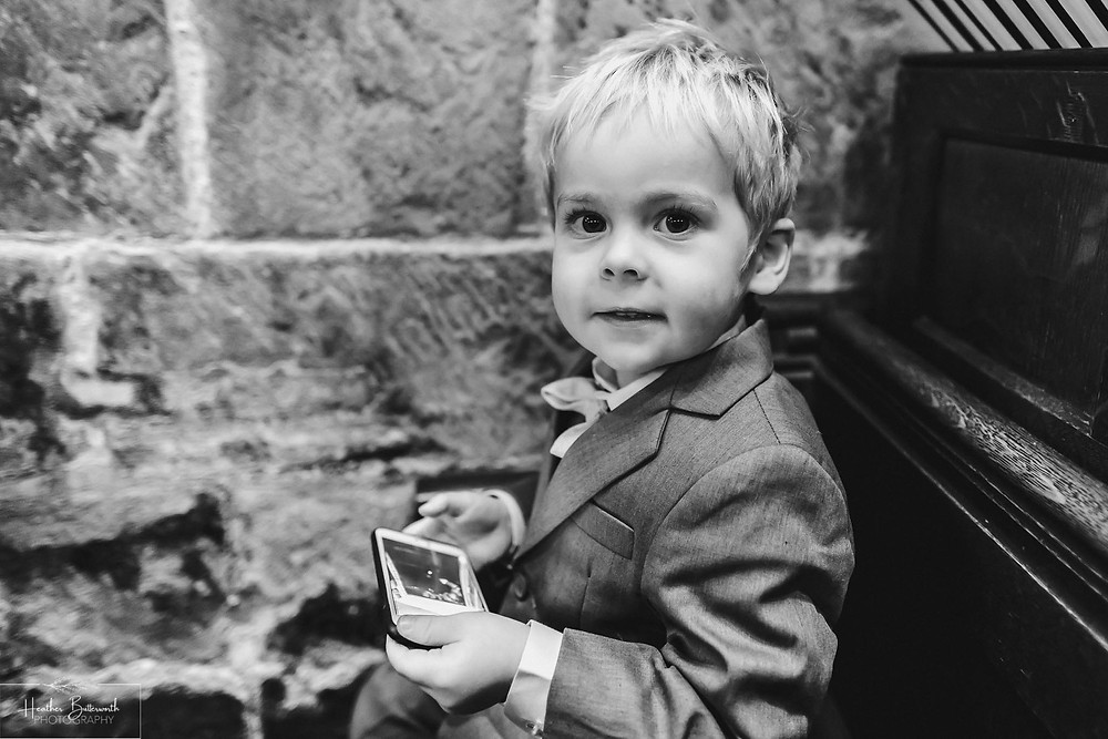 leeds wedding photographer Yorkshire adel parish church st John the baptist service page boy son