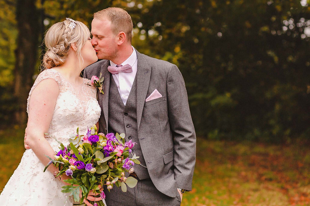 leeds wedding photographer Yorkshire adel parish church st John the baptist autumn bride and groom portrait