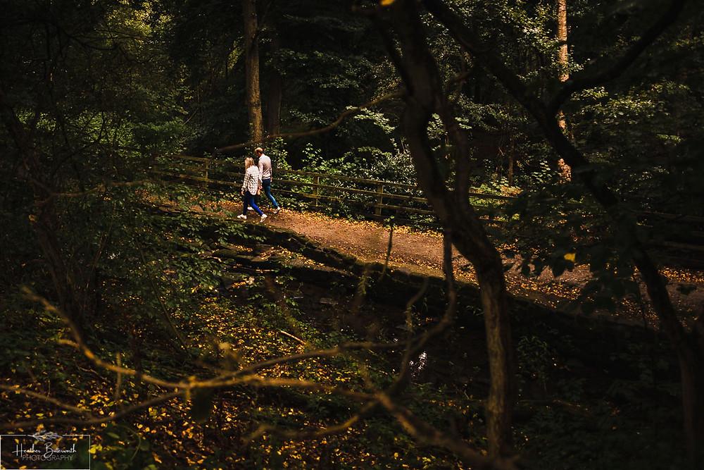 golden acre park Leeds wedding photographer engagement shoot forest