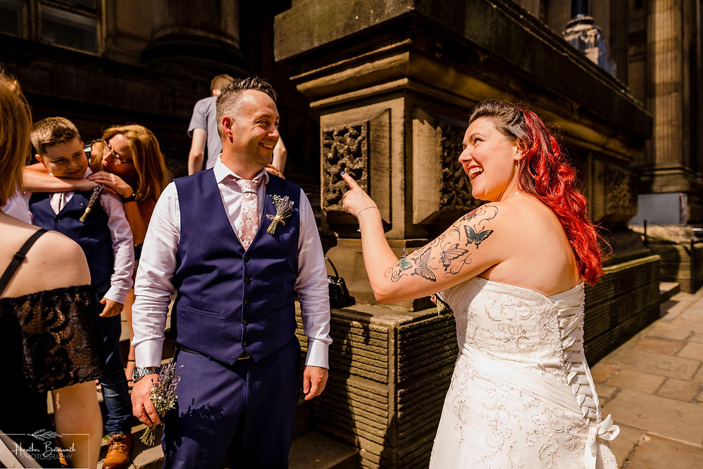 bride and groom before their wedding ceremony in Yorkshire in August 2020