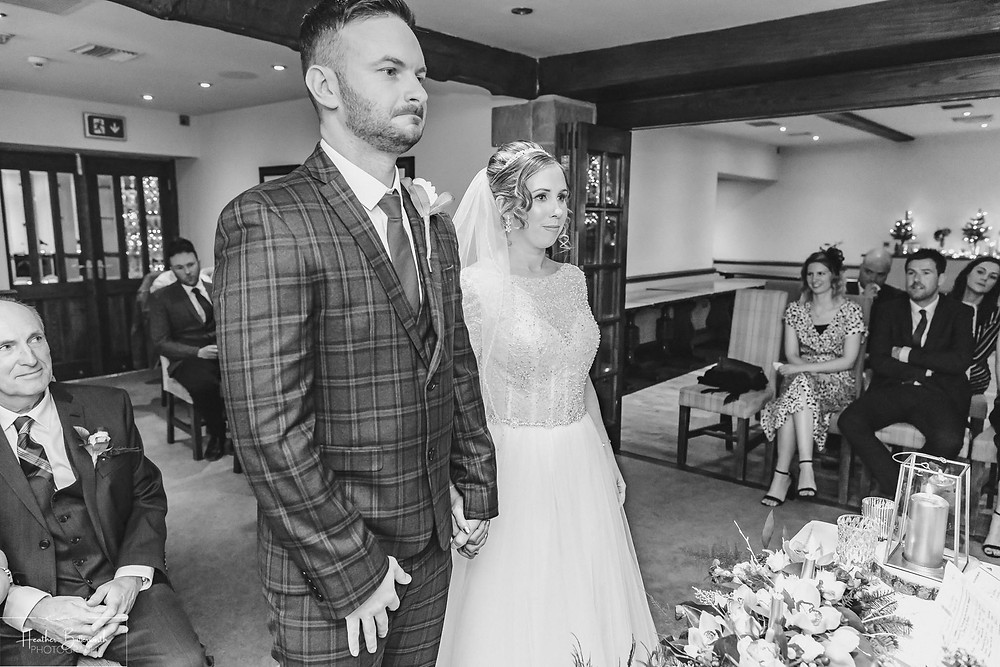 emotional groom wedding ceremony at the woodman inn Yorkshire leeds photographer